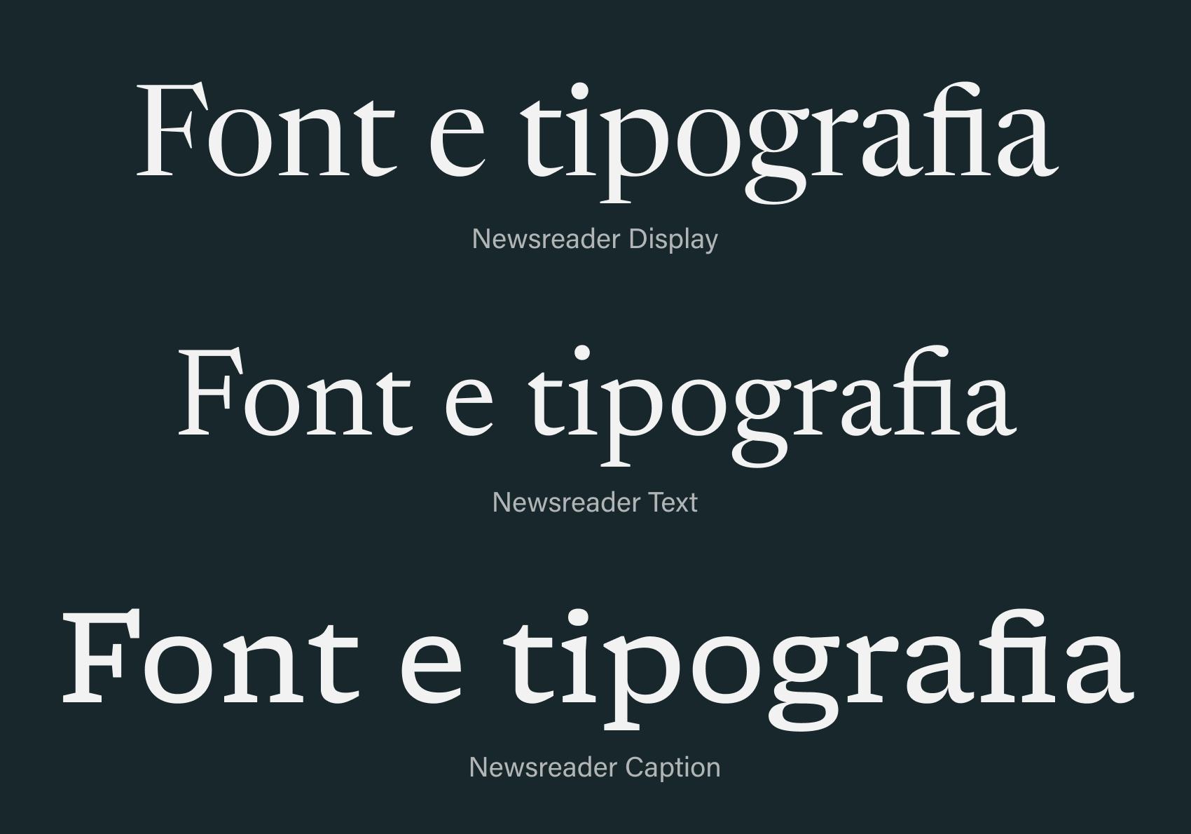 Il Newsreader di Production Type è un esempio di un'ampia famiglia con tre destinazioni d'uso: display, text e caption