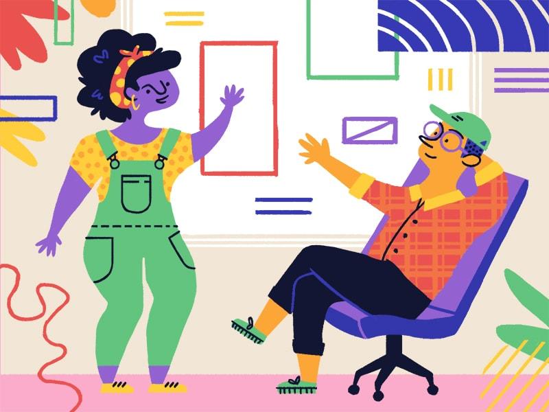 """Un'immagine di Christine Soules che accompagna un articolo per il blog di Dribbble, scritto dallo studio Fortnight, dal titolo """"4 factors that lead to more enjoyable product experiences."""""""